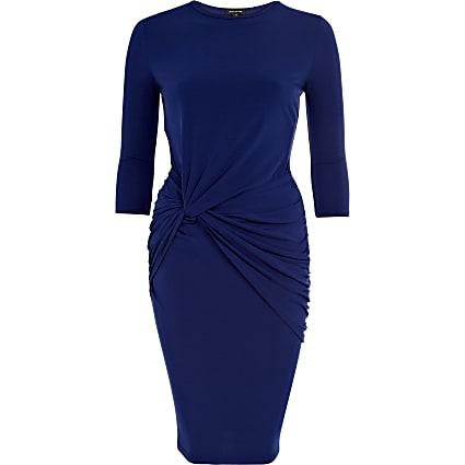 Blue knot waist midi dress