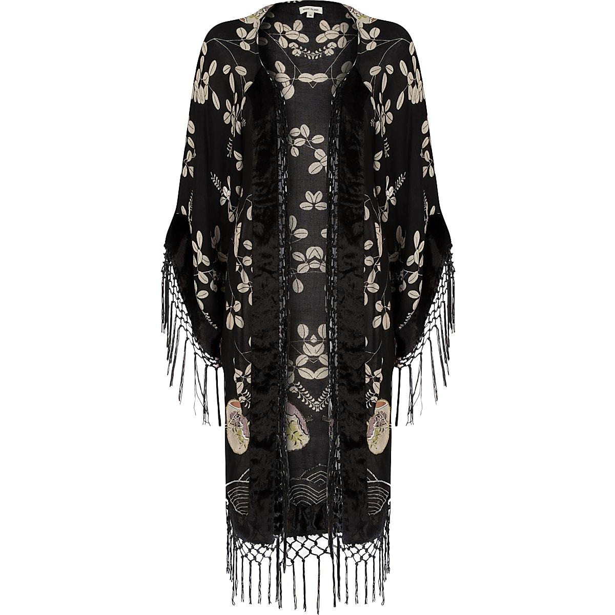 Black floral fringed longline kimono