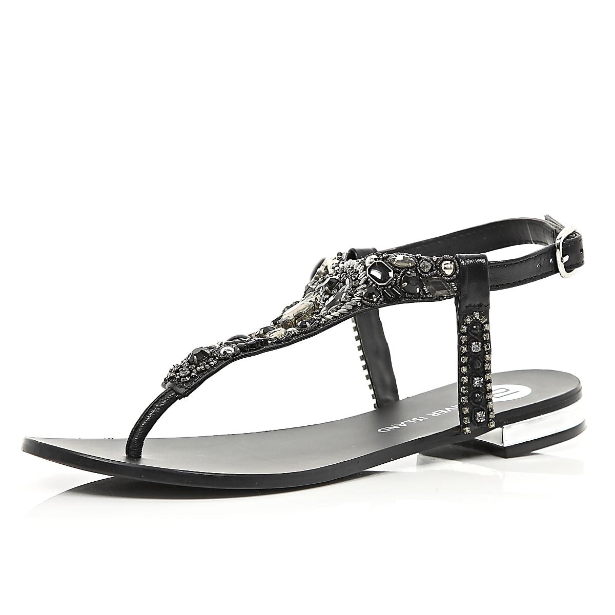8935da789 Black gem stone embellished T bar sandals - Sandals - Shoes   Boots - women