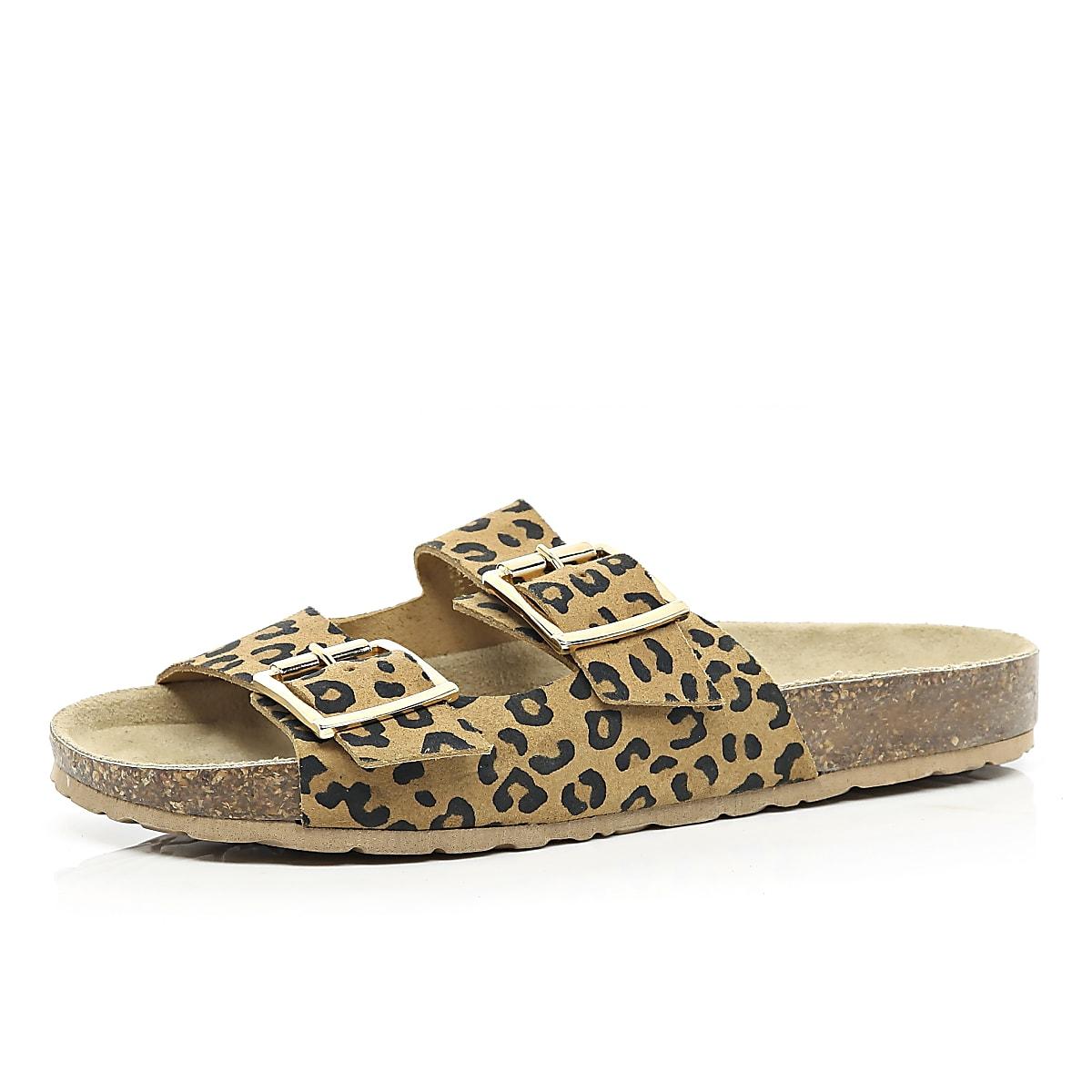 Brown leopard print double strap sandals