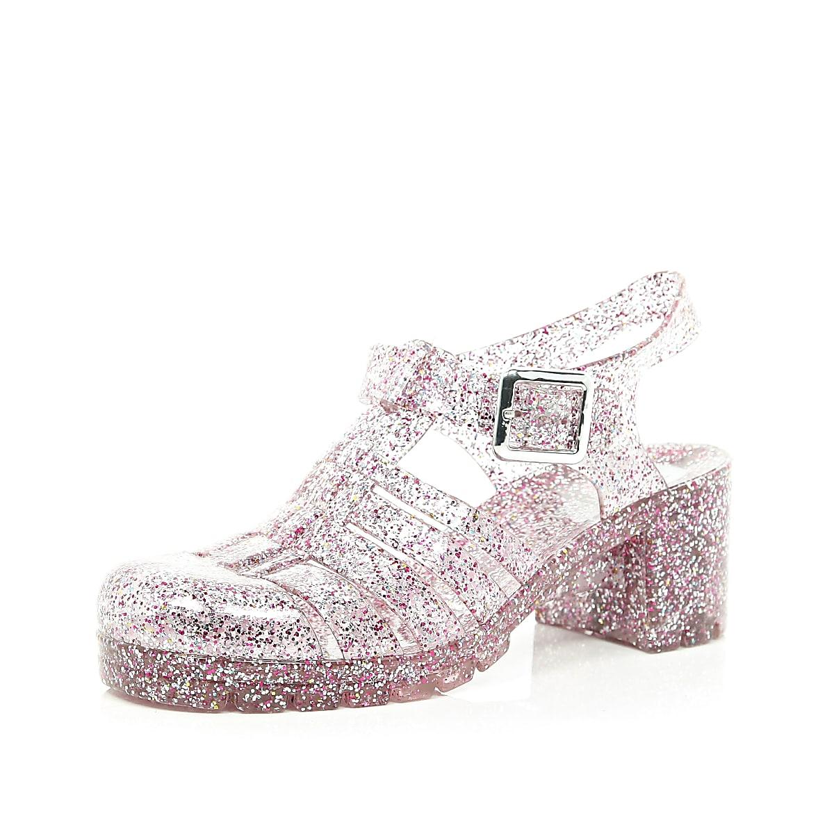 6426704e12a1 Pink glitter block heel jelly shoes - Sandals - Shoes   Boots - women
