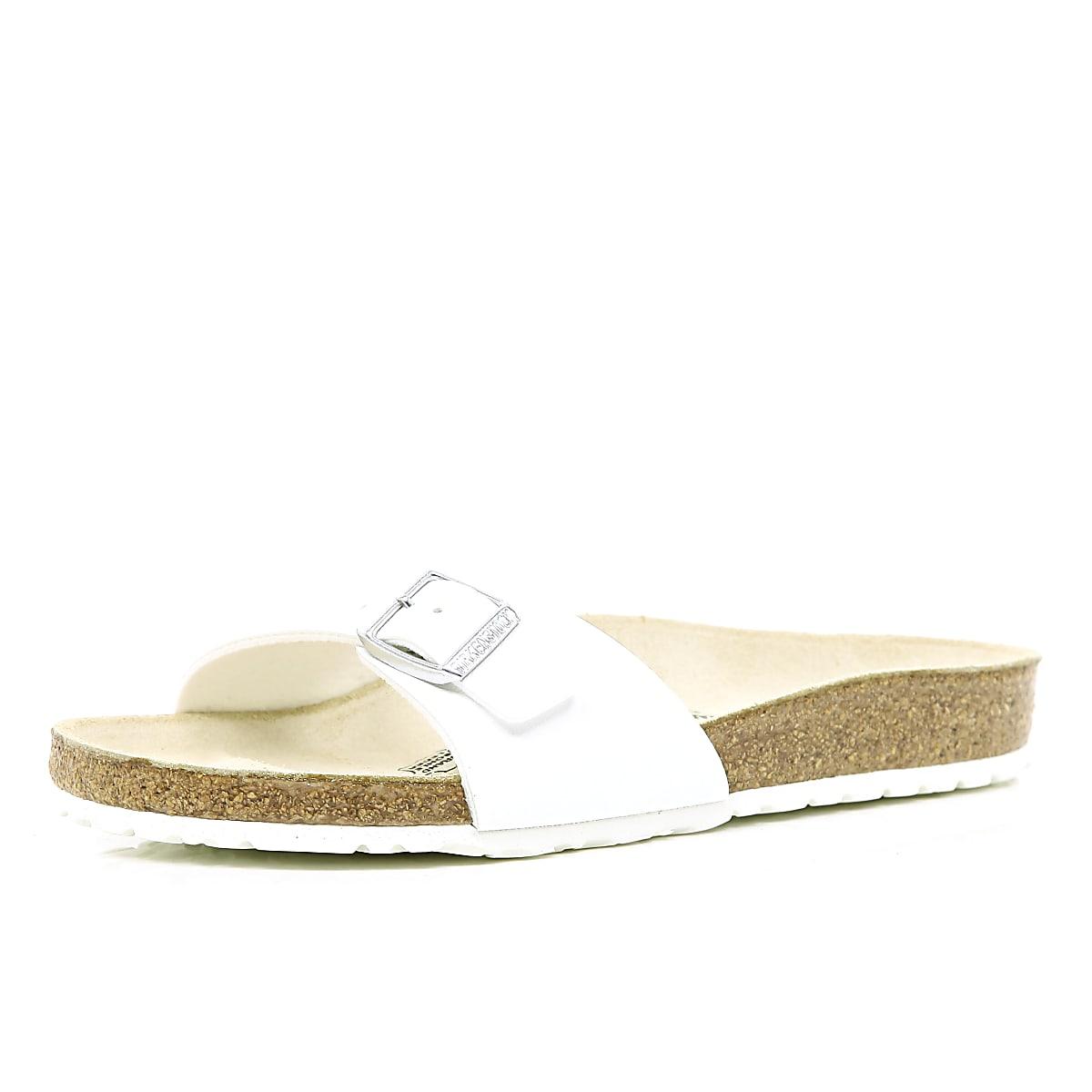 White Birkenstock single strap mule sandals