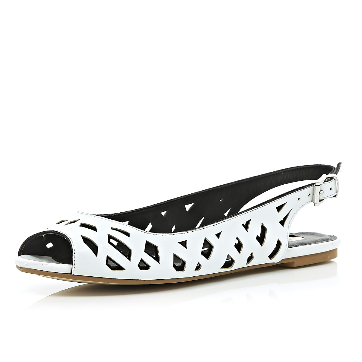 White cut out sling back sandals