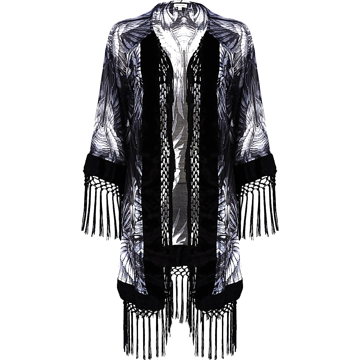 65063e7ac Grey feather print fringed kimono - Kimonos - Tops - women