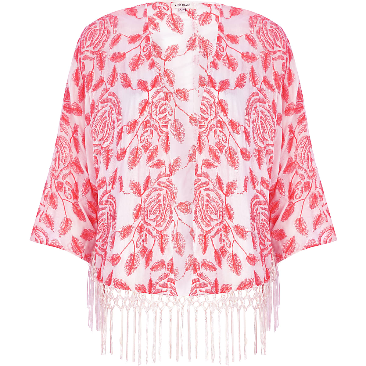 Fluro pink embroidered kimono