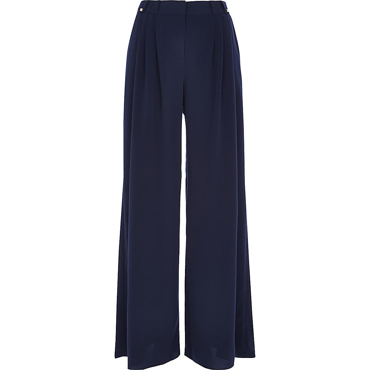 Navy pleated wide leg pants