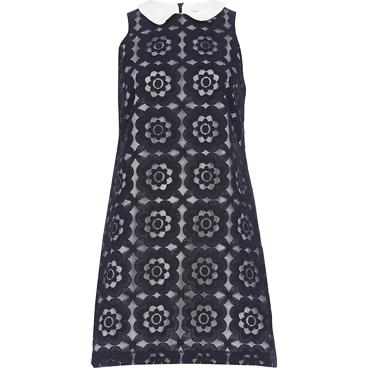 Navy blue contrast collar shift dress
