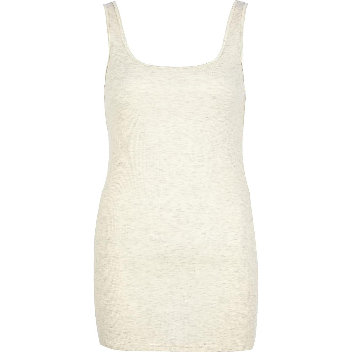 Beige marl scoop neck longline vest
