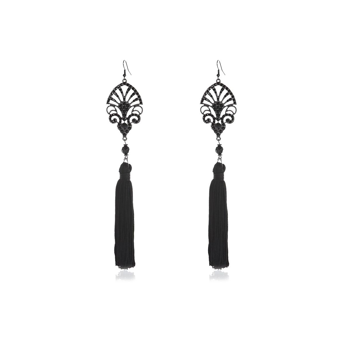 Black diamante tassel dangle earrings