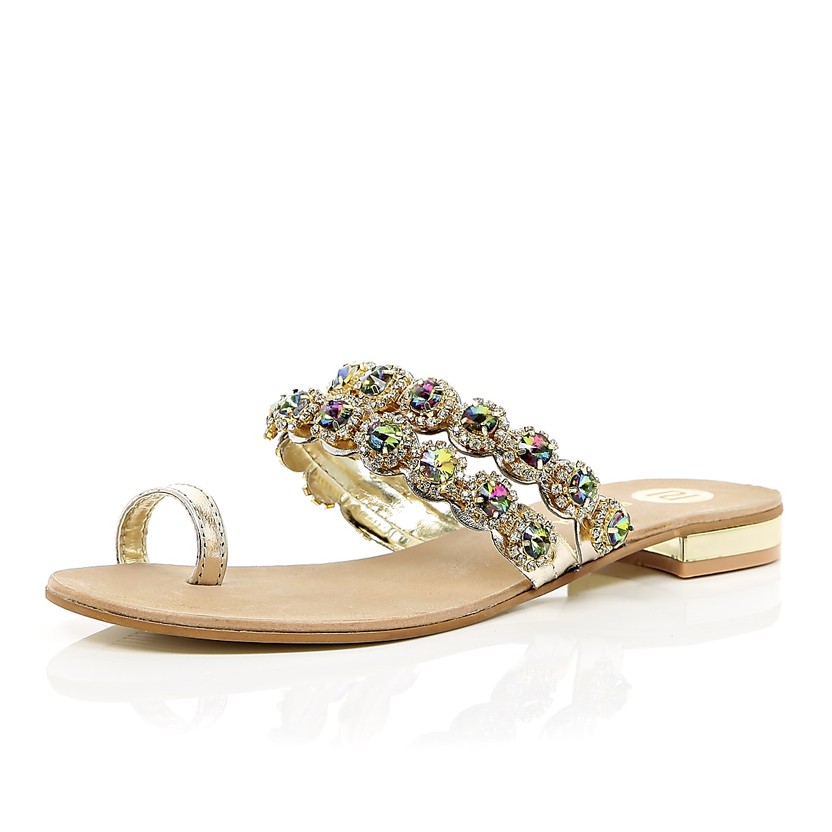 08aea988211 Gold gemstone embellished toe loop sandal - Sandals - Shoes   Boots - women
