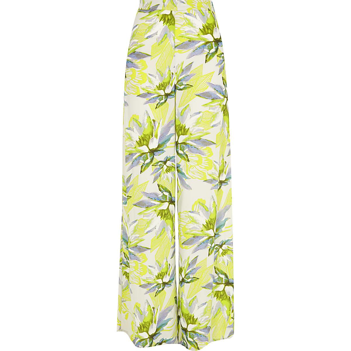 Yellow floral print palazzo pants