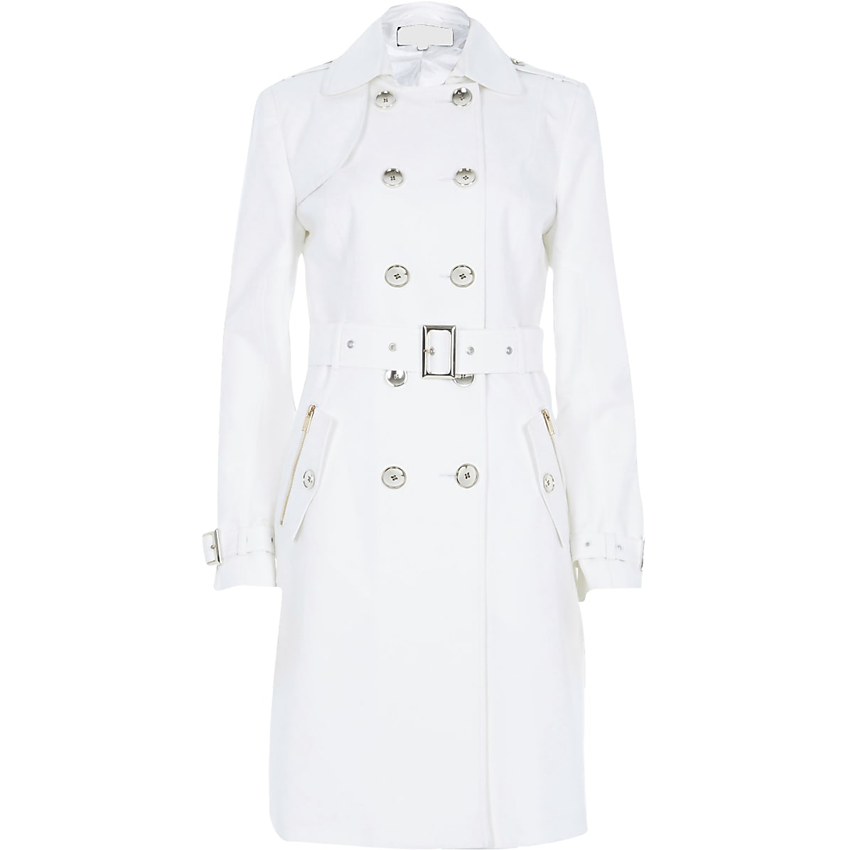 White long sleeve traditional trench coat