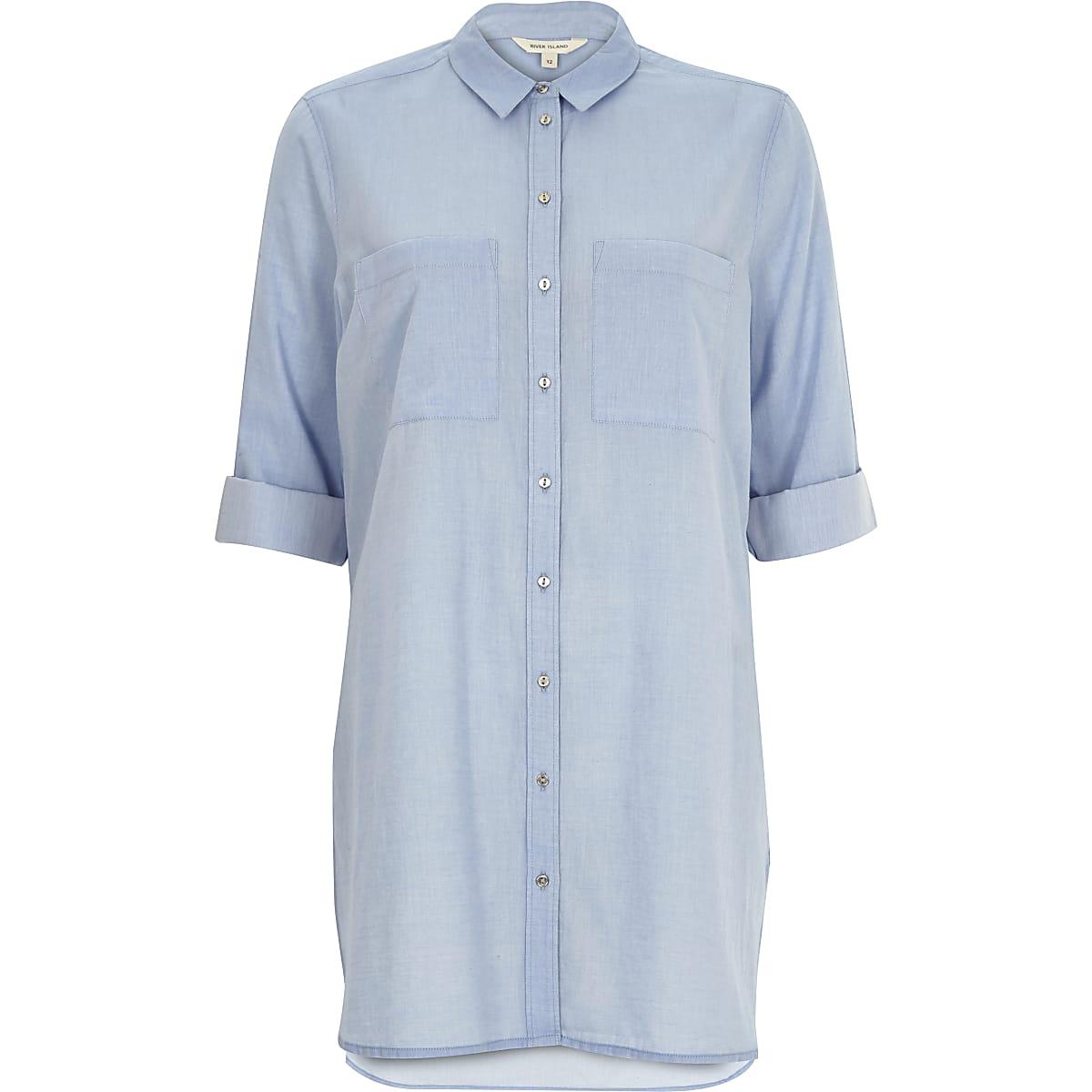Blue chambray longline shirt