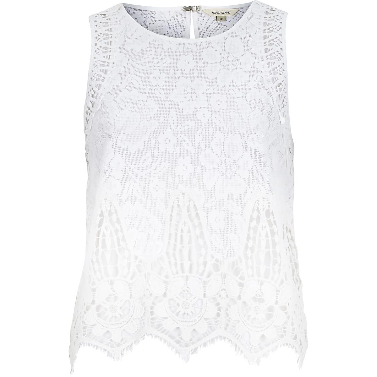 46fc3d4e0b7457 White lace sleeveless tank top - Cami   Sleeveless Tops - Tops - women