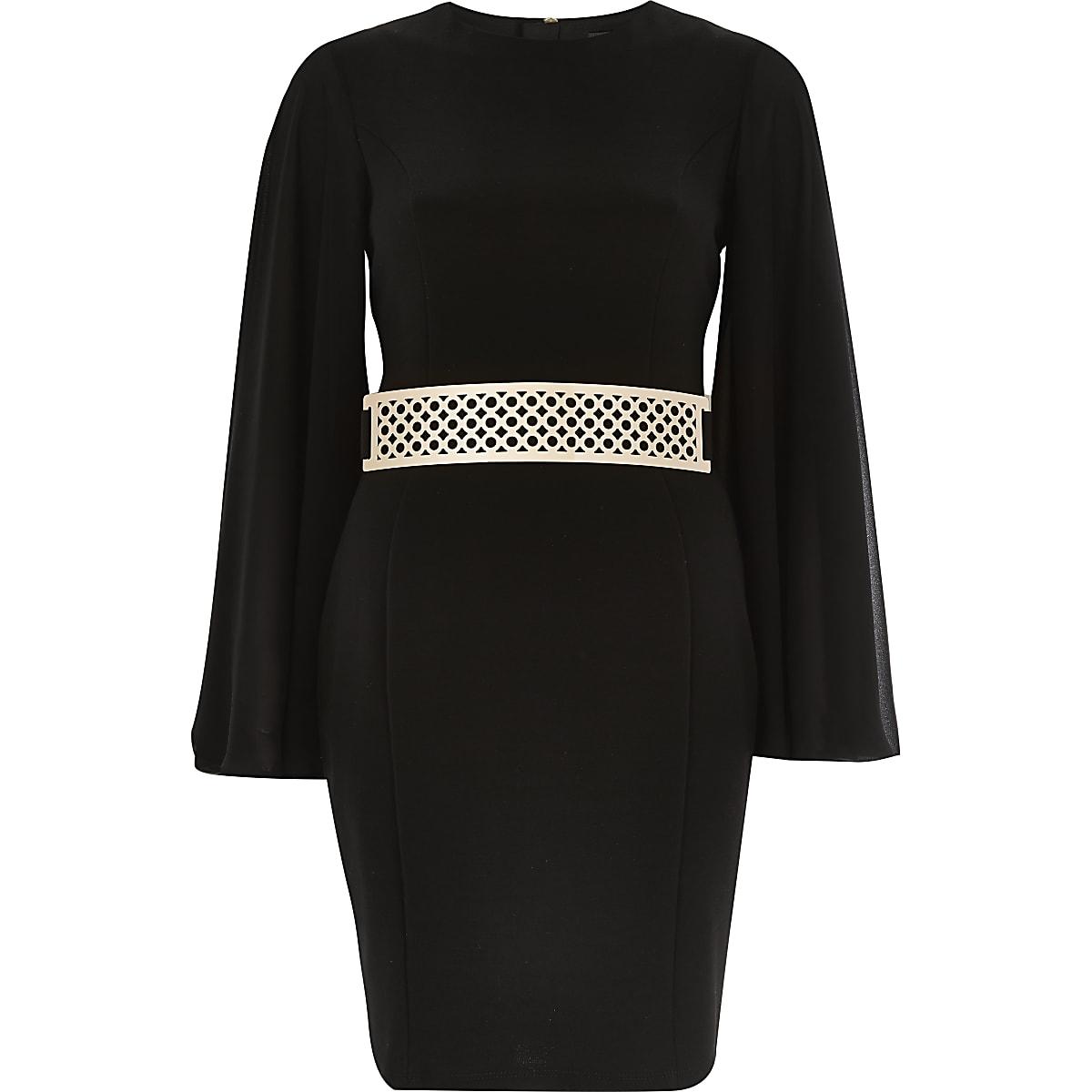 Black kimono wide sleeve dress
