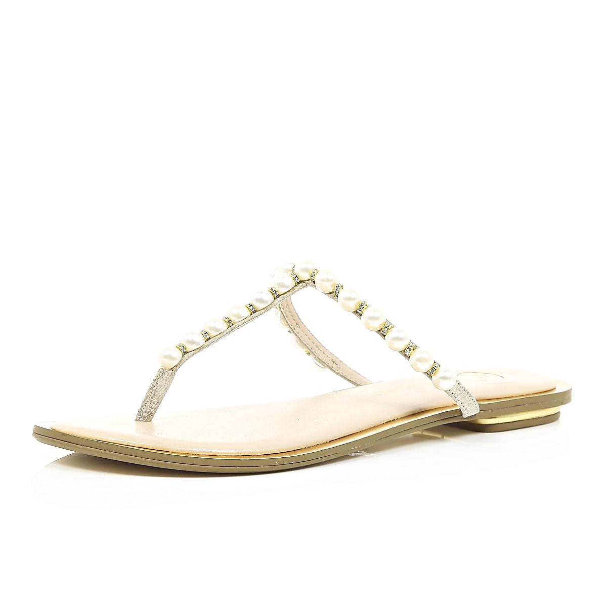 Light pink pearl strap sandals