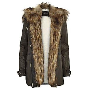 Khaki faux fur trim parka jacket