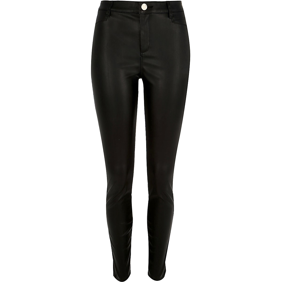 1b028ec61073 Black skinny leather-look trousers - Skinny Trousers - Trousers - women