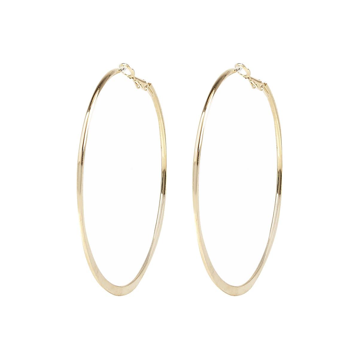 Gold colour medium flat bottom hoop earrings