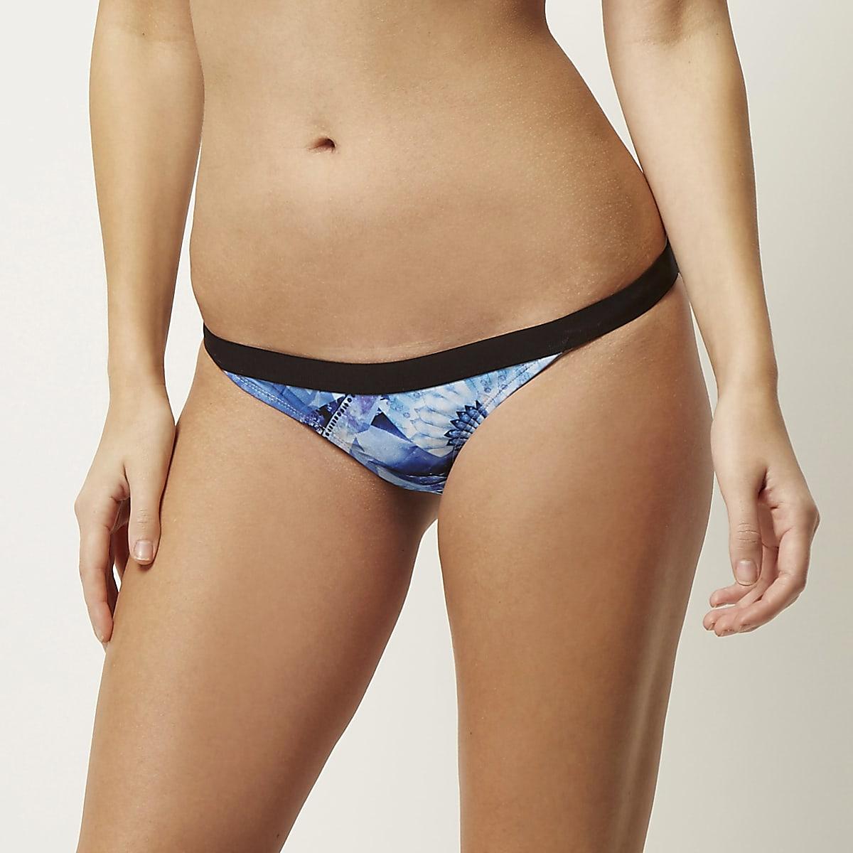 Blauw bikini broekje met print
