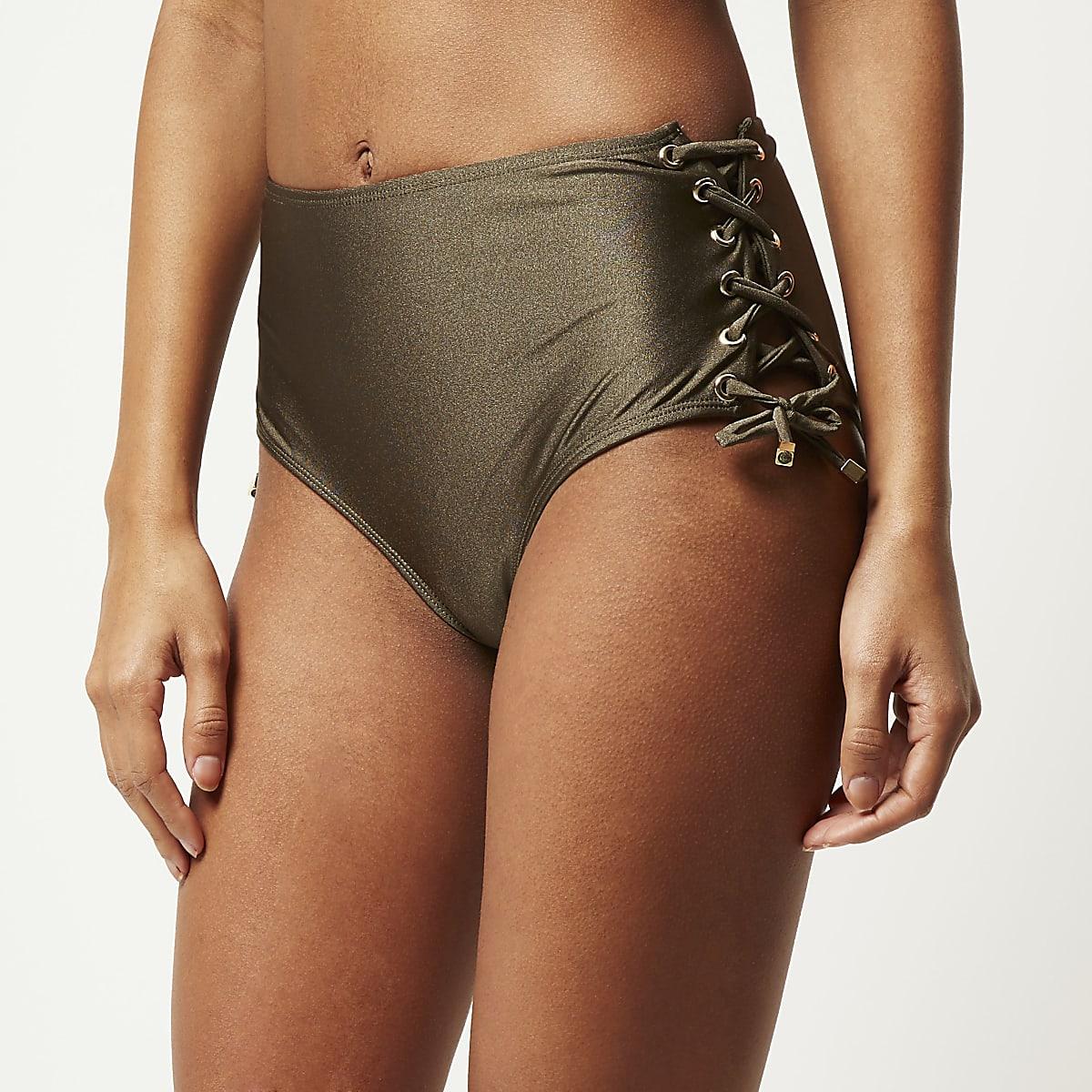 Kaki bikinibroekje met hoge taille en oogjes