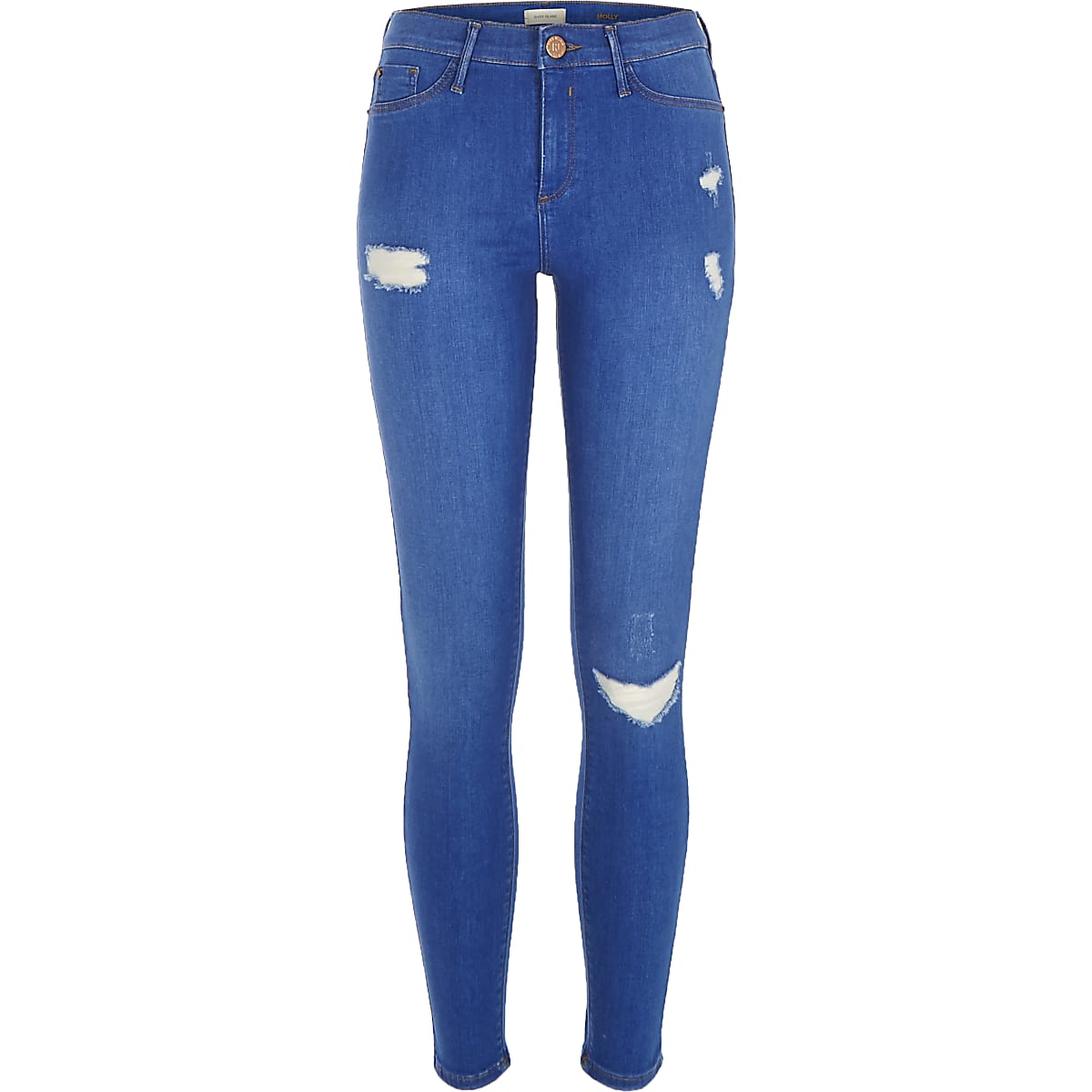 Bright blue wash ripped Molly jeggings