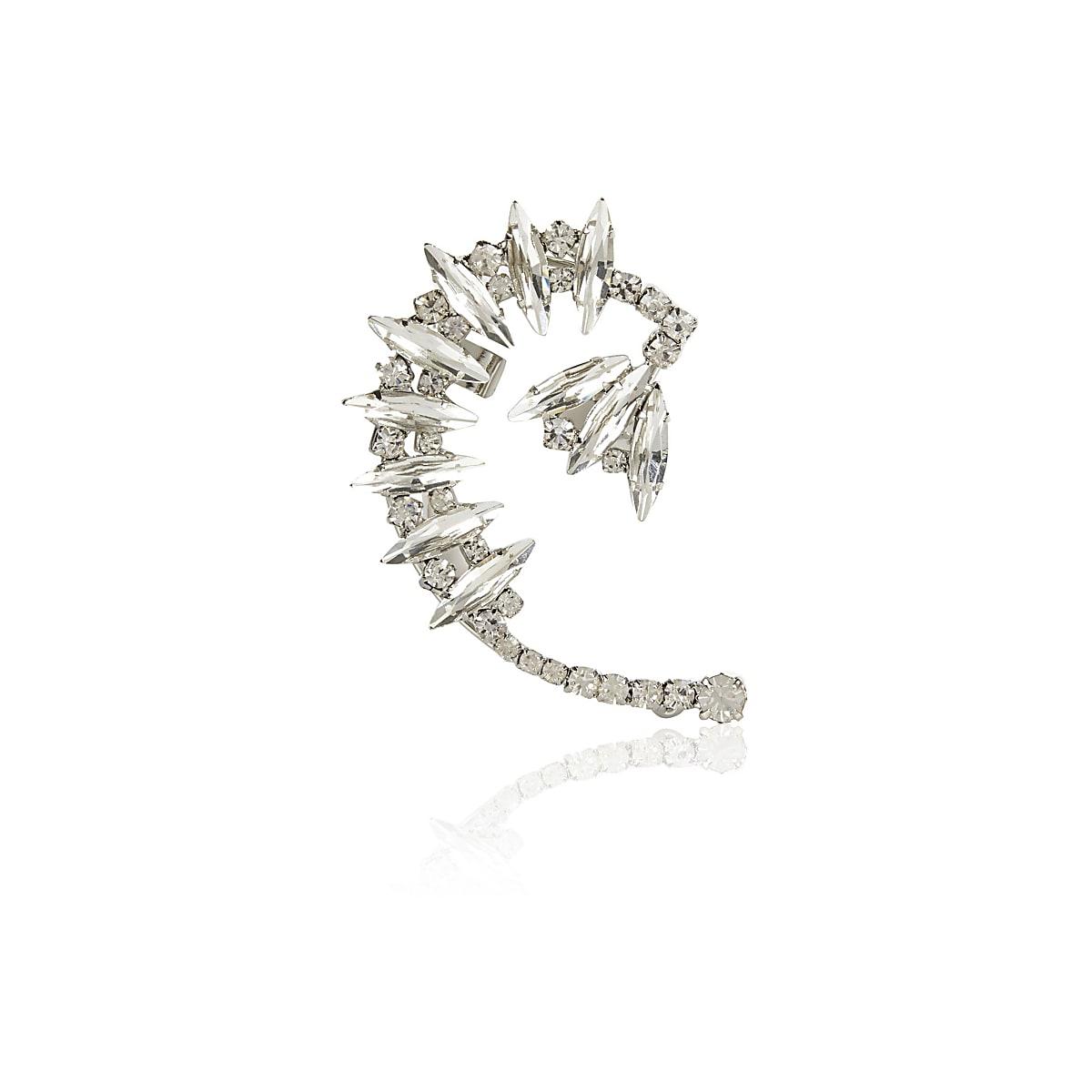 Silver tone embellished statement ear cuff