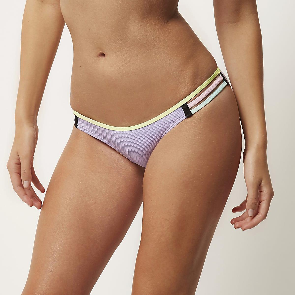Purple color block bikini bottoms