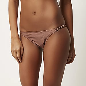 Beige low rise bikini bottoms