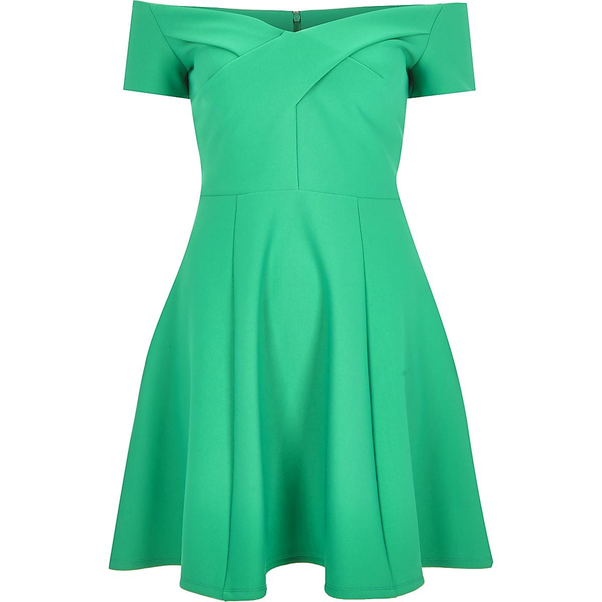 Green scuba bardot skater dress