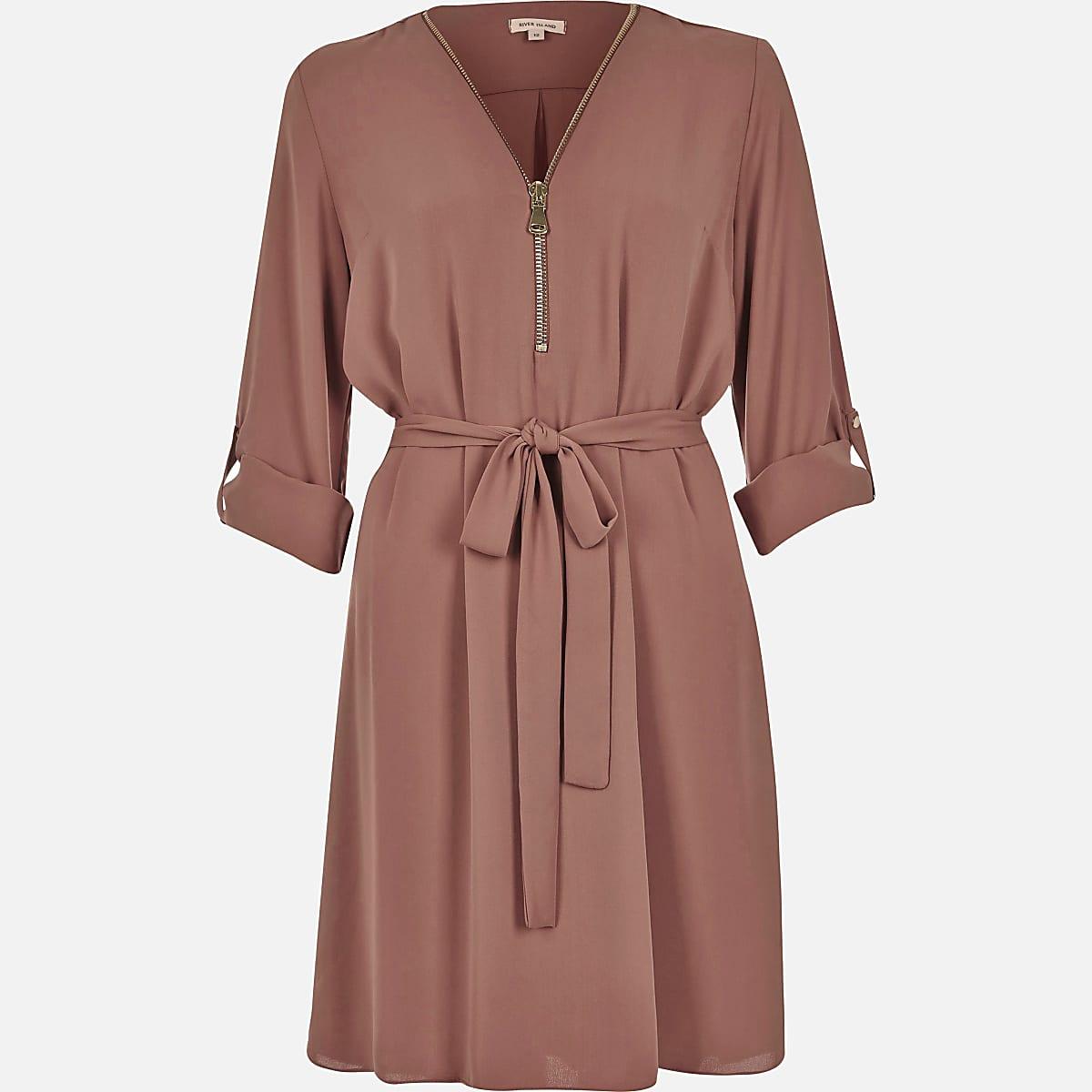 Pink zip-up shirt dress