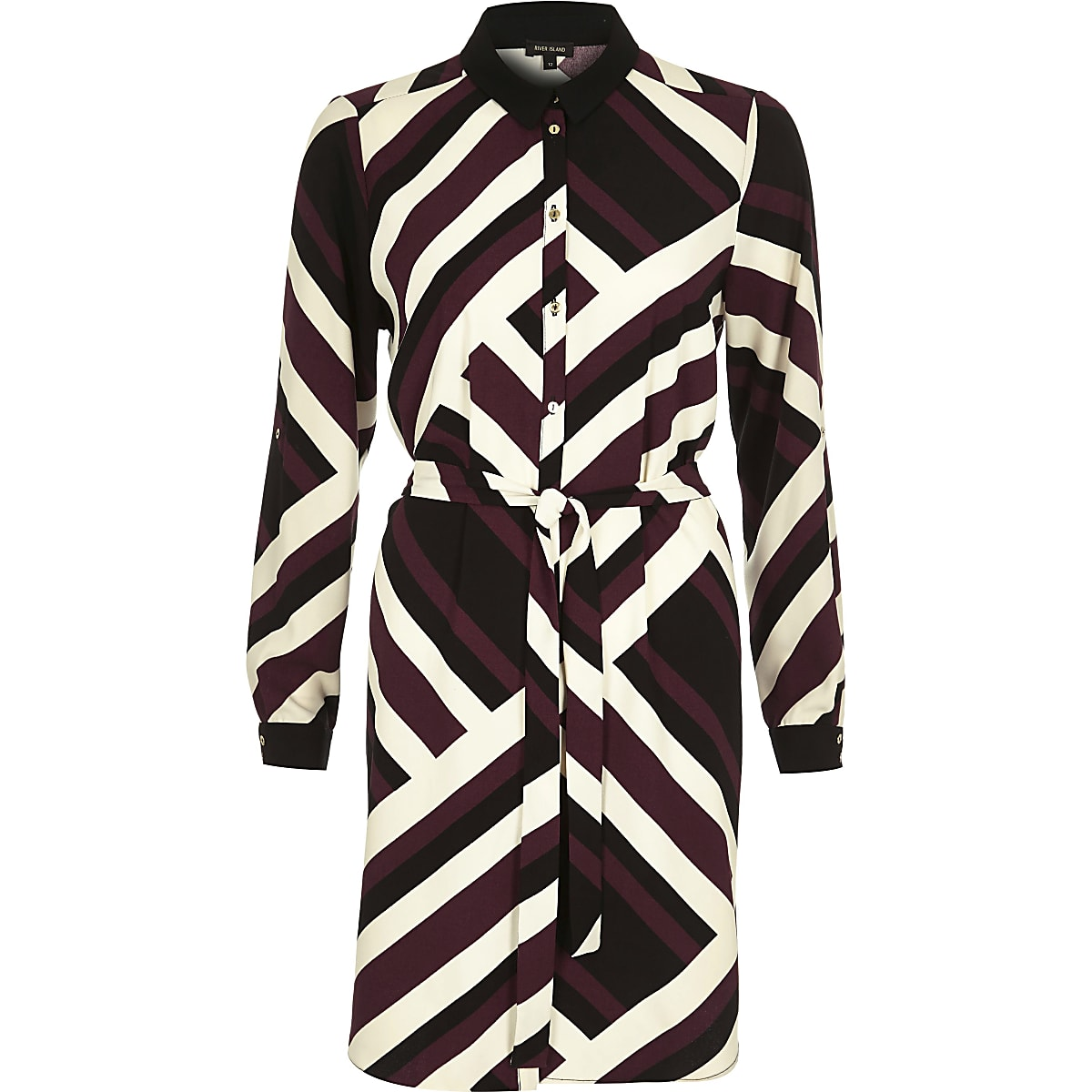 Dark red stripe shirt dress