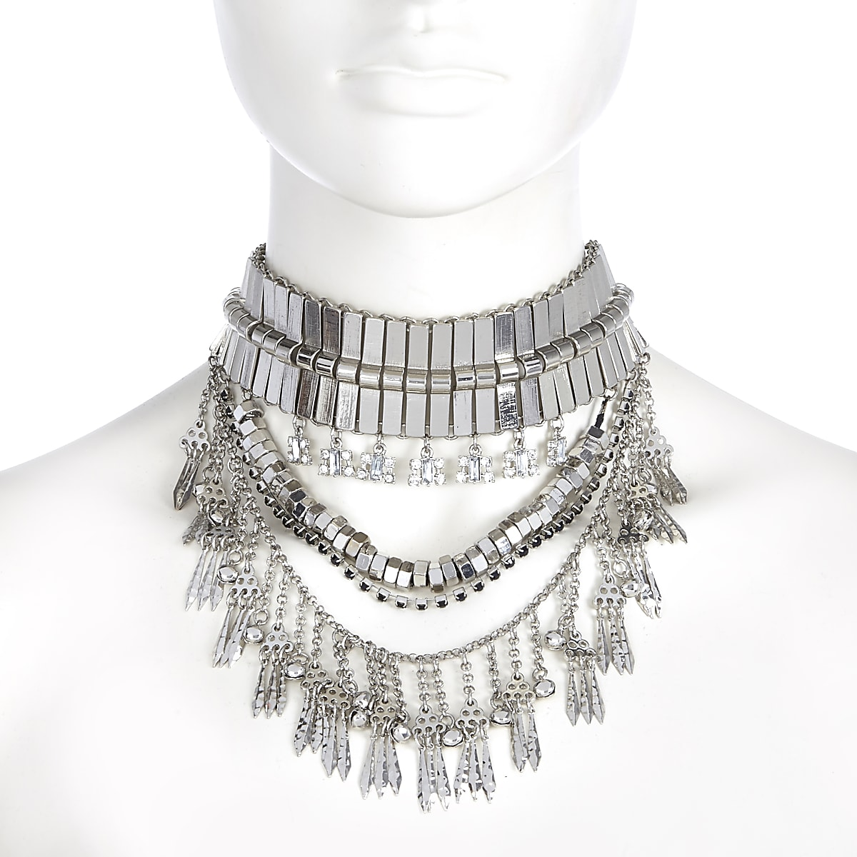 Silver tone heavy embellished necklace