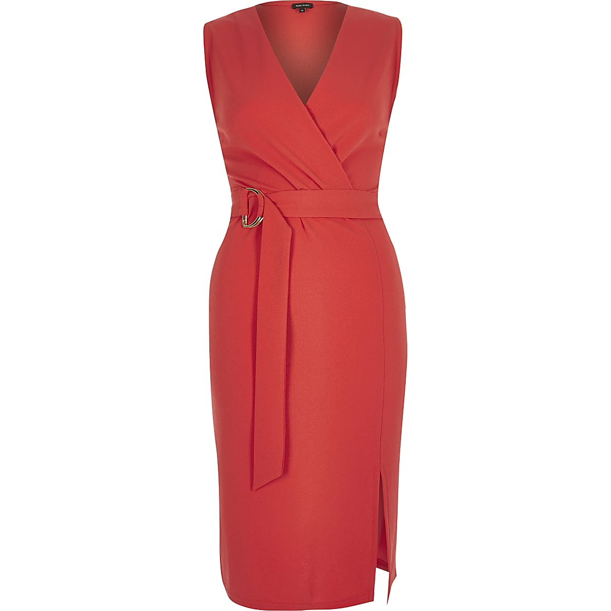 Red D-ring belted wrap dress