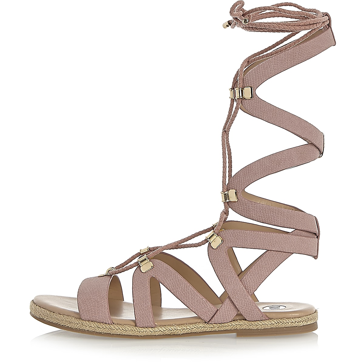 Pink lace-up gladiator sandals