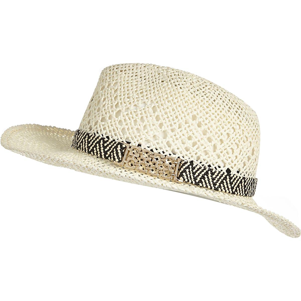 13be5c643 Cream straw fedora hat