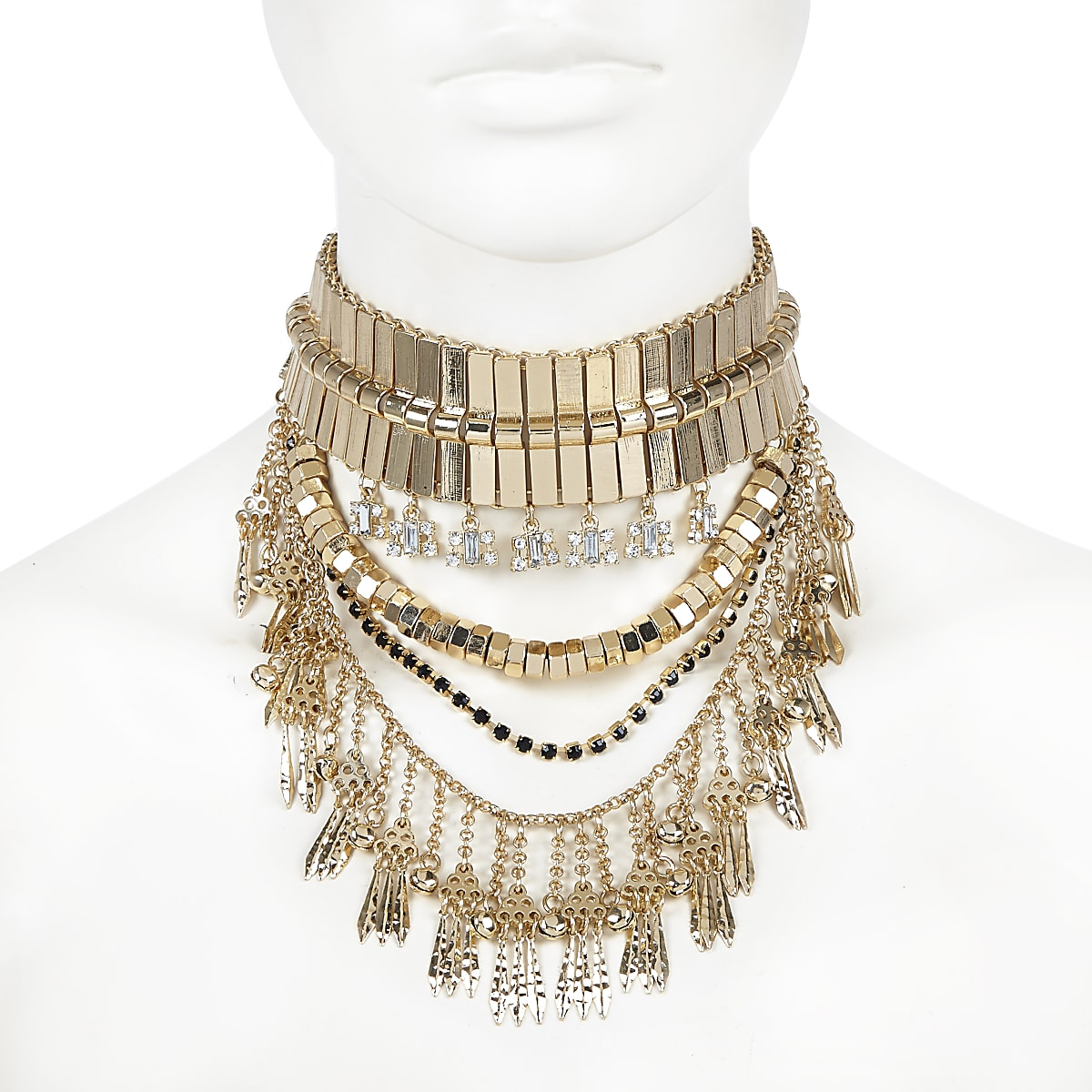 Gold tone chunky statement choker necklace