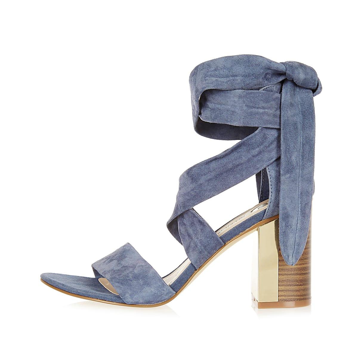 Blue suede wrap block mid heel sandals