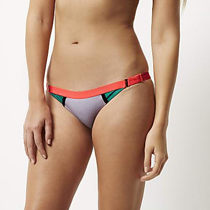 Purple colour block bikini bottoms