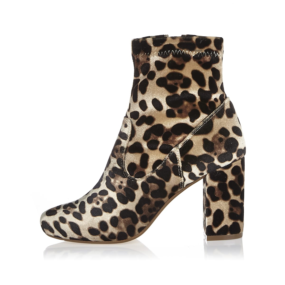 Brown leopard print velvet heeled ankle boots