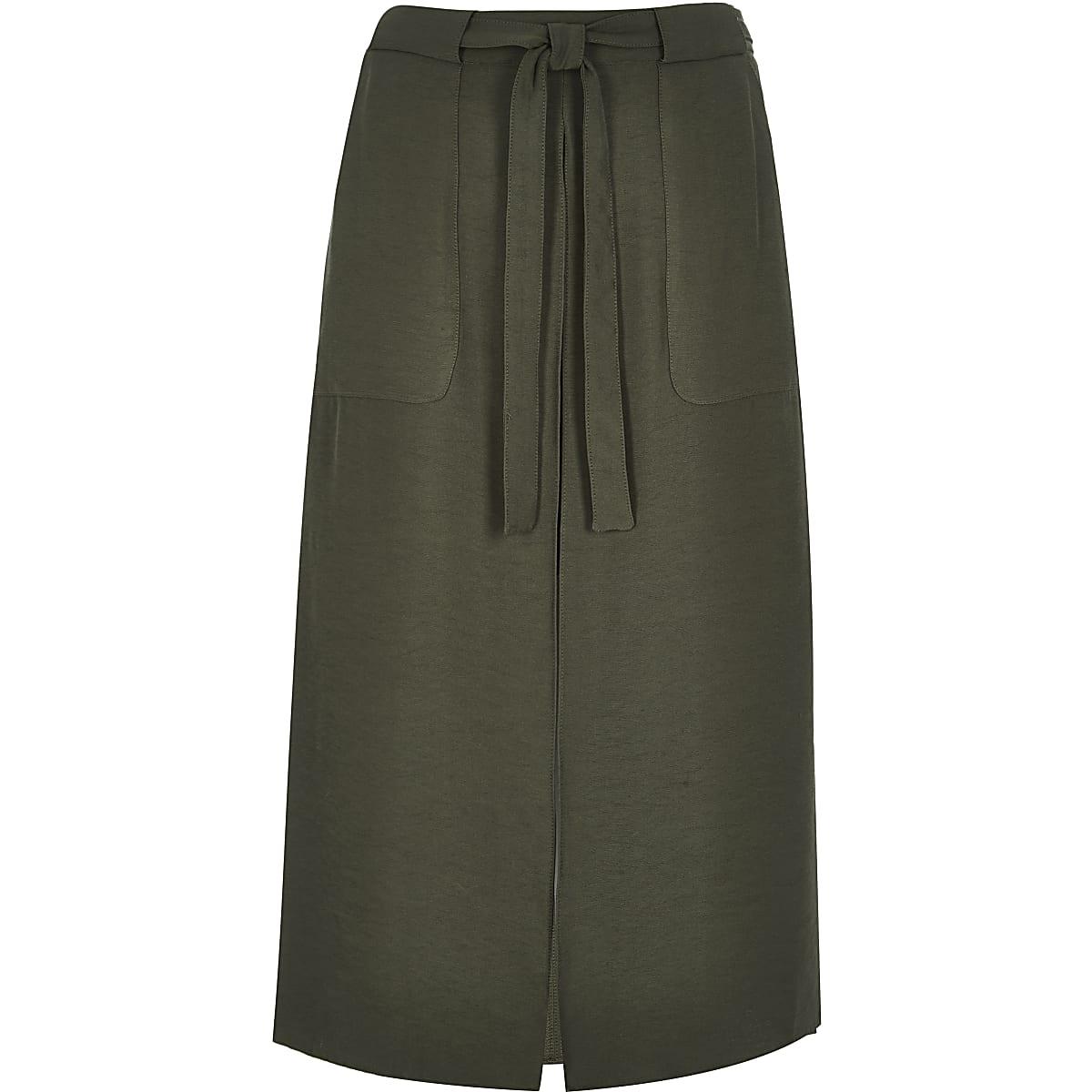 Khaki utility midi skirt