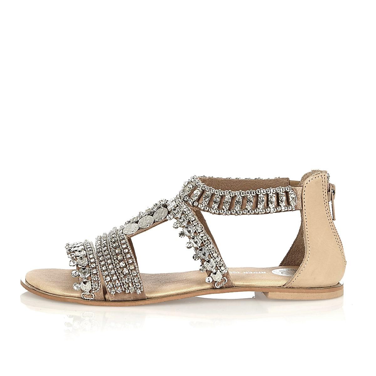 Nude leather embellished sandals