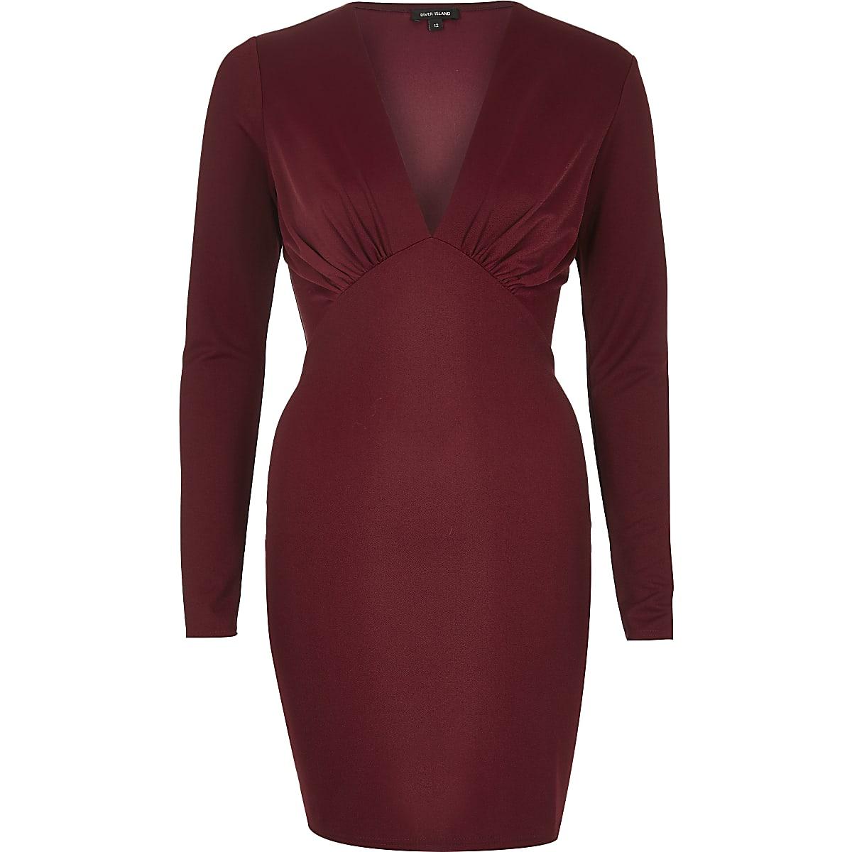 56e7409d0402 Dark red plunge bodycon mini dress - Bodycon Dresses - Dresses - women