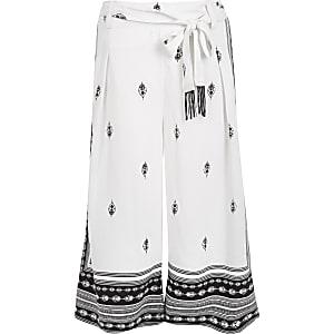 Jupe-culotte blanche imprimée