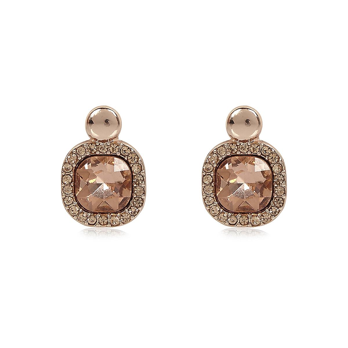 Rose gold gemstone stud earrings