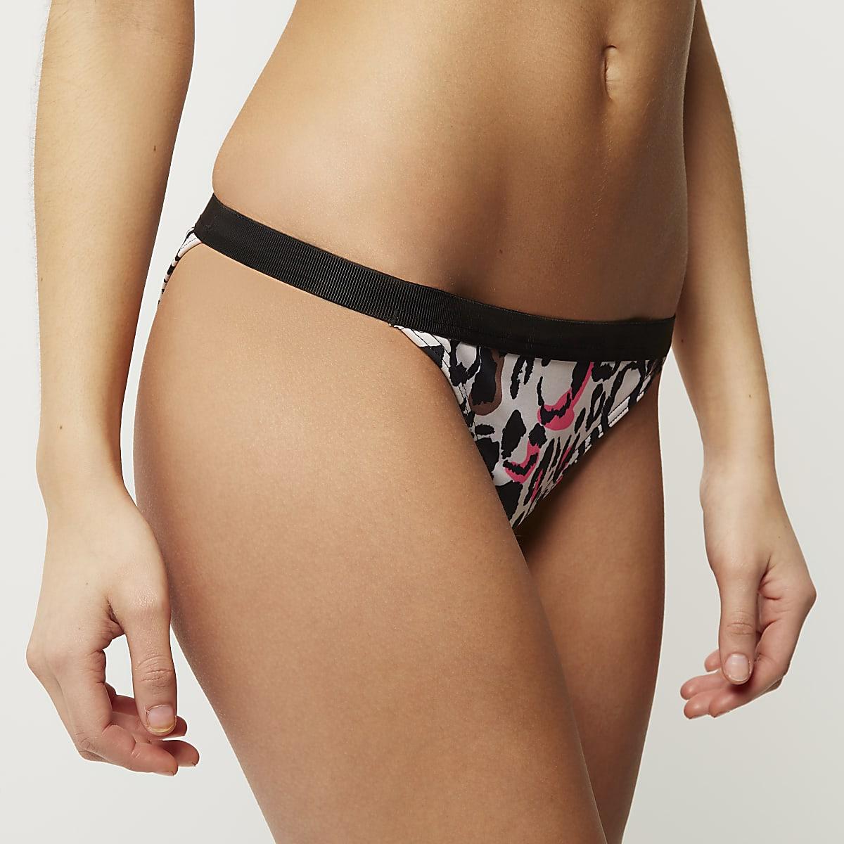 Brown print contrast waist bikini bottoms
