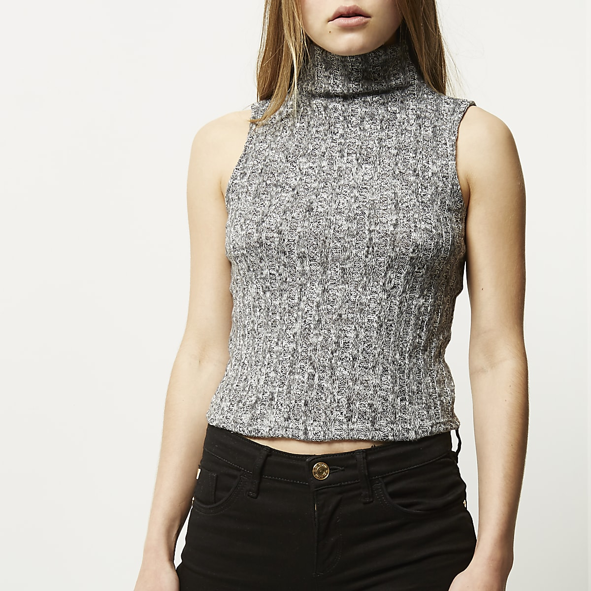Grey roll neck sleeveless vest