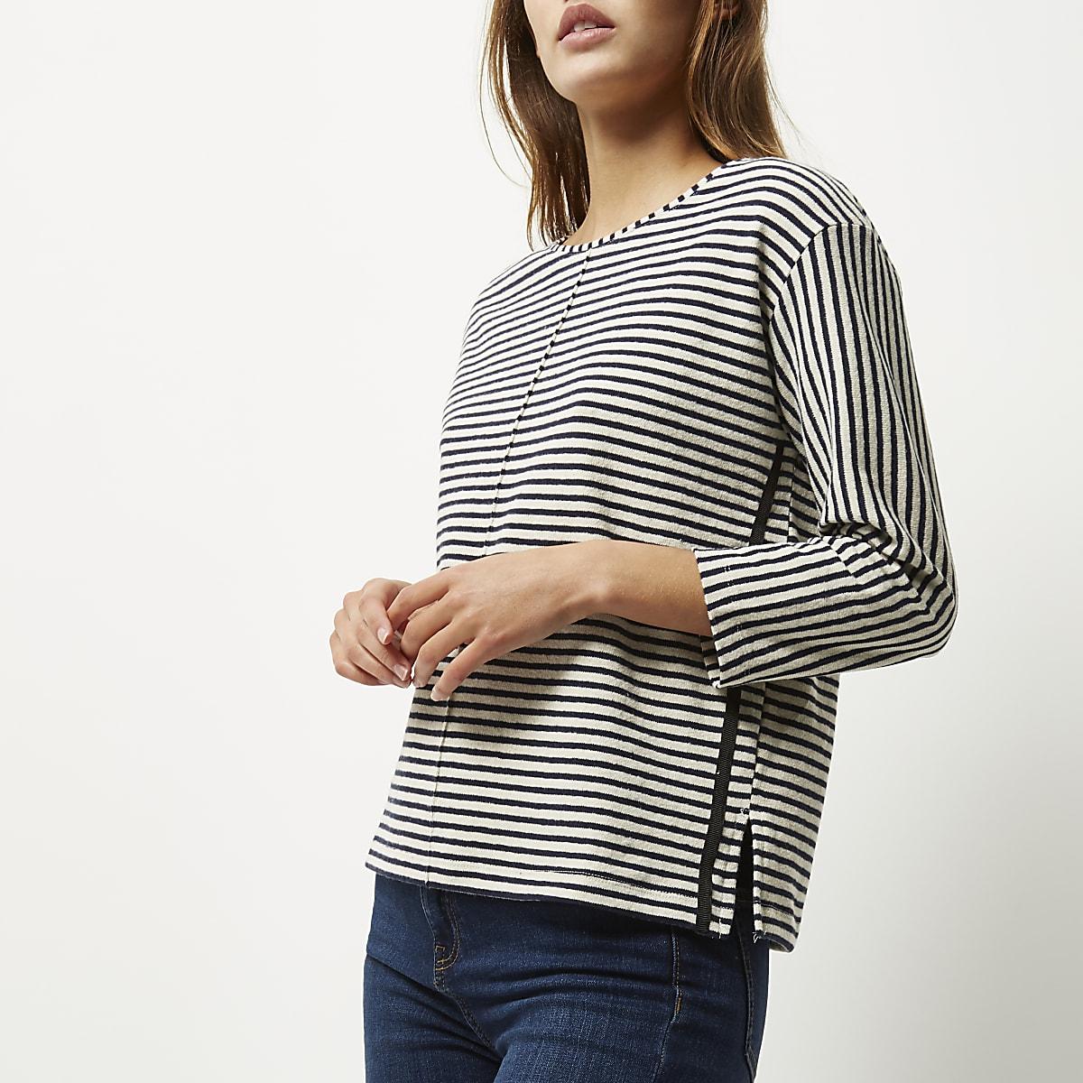 Cream stripe sweatshirt