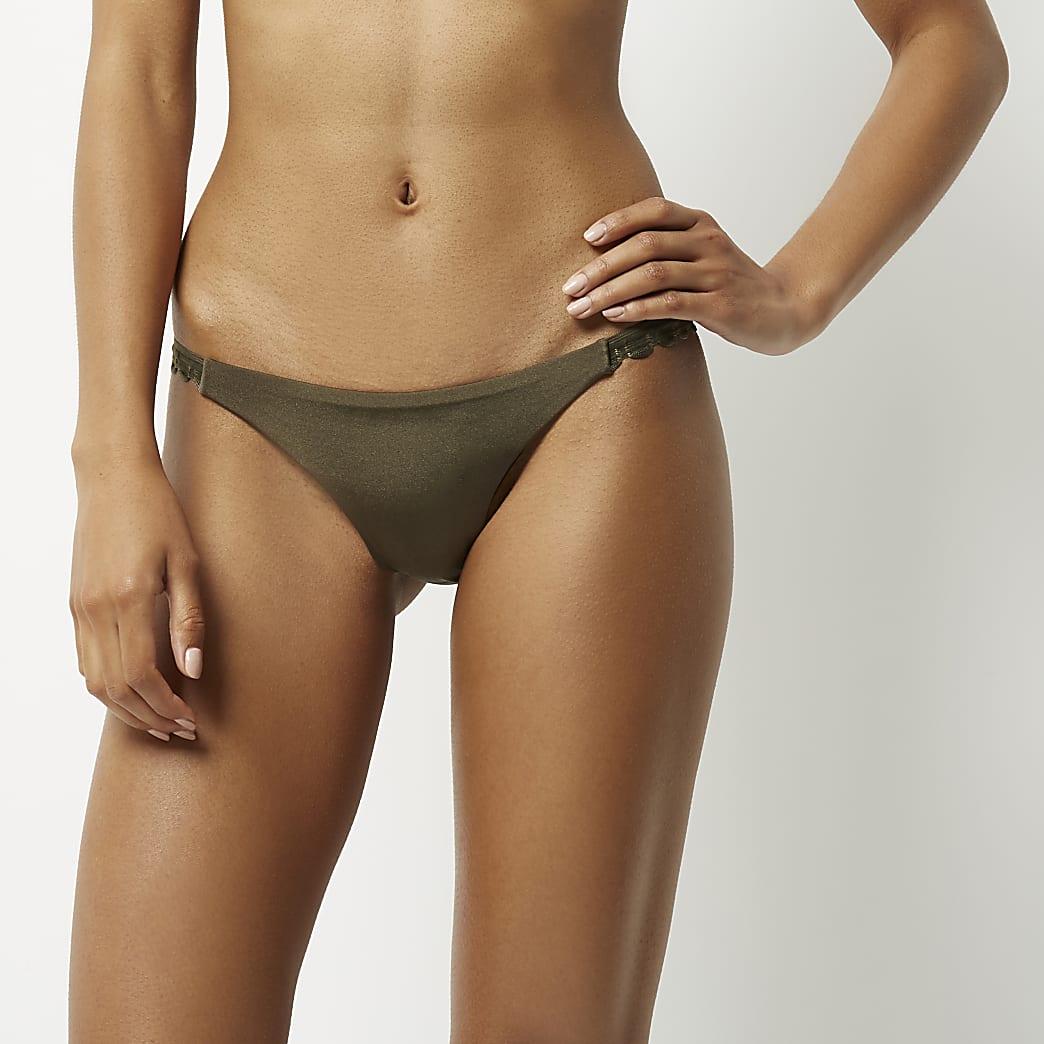 Bas de bikini kaki à bords festonnés