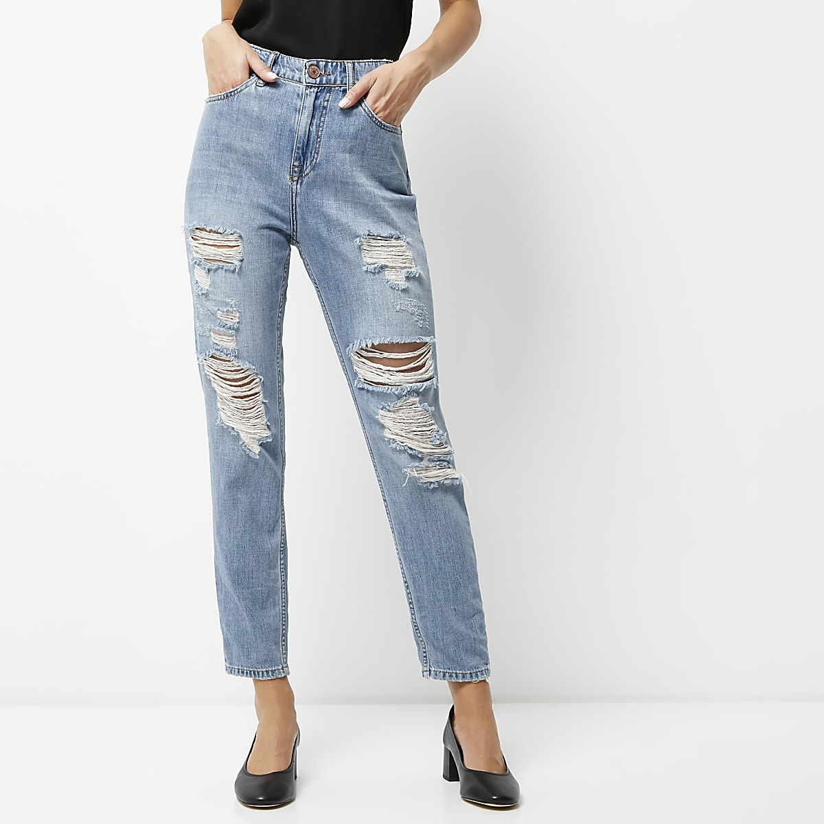 fac6e8f44ed00c Middenblauwe wash ripped mom jeans - Mom jeans - Jeans - Dames